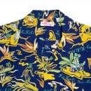 SUN SURF Regular Fit SS37771 Short Sleeve Hawaiian Hula printed Navy Rayon Made Hawaiian Shirt for Men with Wooden Buttons
