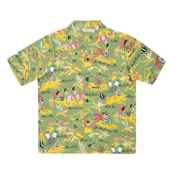 SUN SURF Short Sleeve Regular Fit SS37771 Hawaiian Hula printed Rayon Made Green Hawaiian Shirt for Men with Wooden Buttons