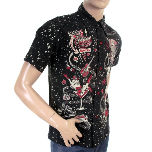 SUN SURF Special Edition Keoni of Hawaii Black Rock and Roll Voodoo by Vince Ray Regular Fit Short Sleeve Shirt SS36209