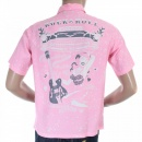 SUN SURF Special Edition Keoni of Hawaii Pink Rock and Roll Voodoo by Vince Ray Regular Fit Cuban Collar Short Sleeve Shirt SS36209