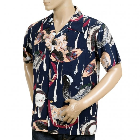 SUN SURF Special Edition Mens Rayon Navy Regular Fit SS37653 Short Sleeve One Hundred Ghost Tales Printed Hawaiian Shirt with Wooden Buttons
