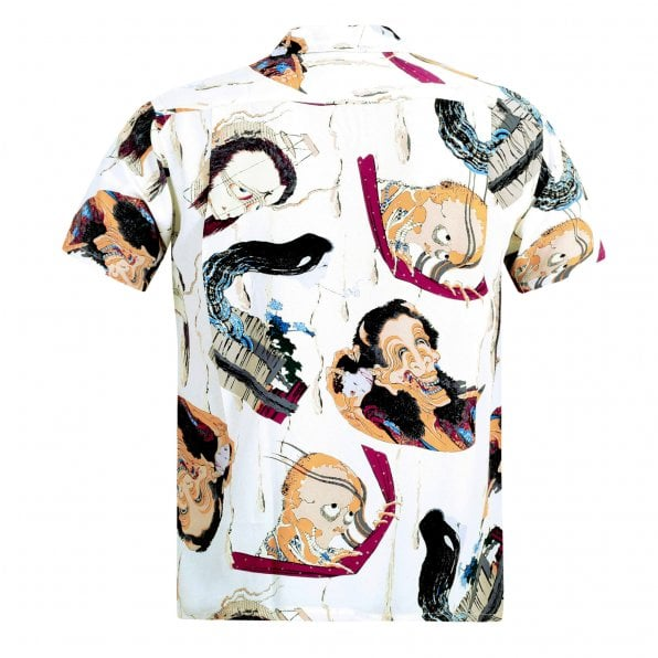 SUN SURF Special Edition Mens Rayon Off White Regular Fit SS37653 Short Sleeve One Hundred Ghost Tales Print Hawaiian Shirt