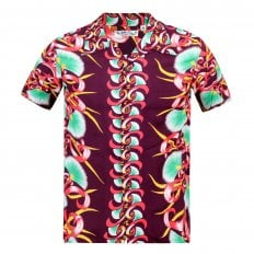 Sun Surf Wine Rayon Short Sleeve SS37793 Regular Fit Mens Hawaiian Shirt with Aloha Bombax Tree Print