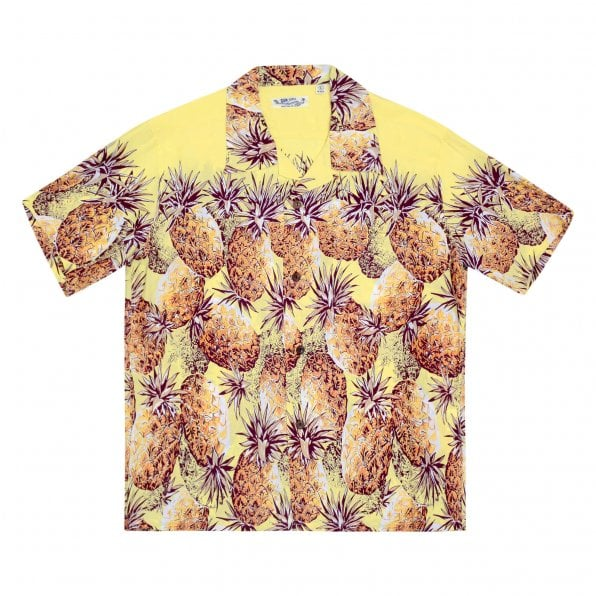 SUN SURF Yellow Rayon Short Sleeve SS36441 Regular Fit Mens Hawaiian Shirt with Pineapple Print