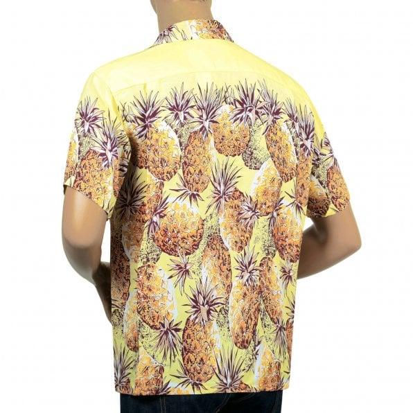 SUN SURF Yellow Rayon Short Sleeve SS36441 Regular Fit Mens Hawaiian Shirt with Pineapple Print
