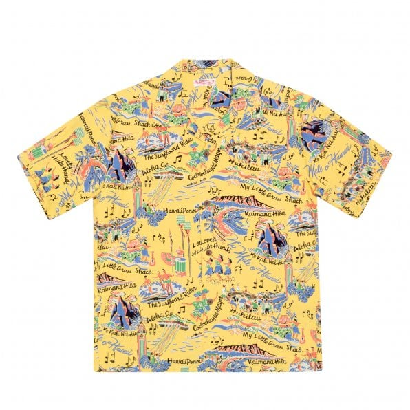 SUN SURF Yellow Rayon Short Sleeve SS37787 Regular Fit Mens Hawaiian Shirt with The Song of Hawaii Print