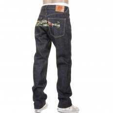 Super Exclusive Tiger Camo Plane Design Indigo Raw Denim Slim Cut Jeans