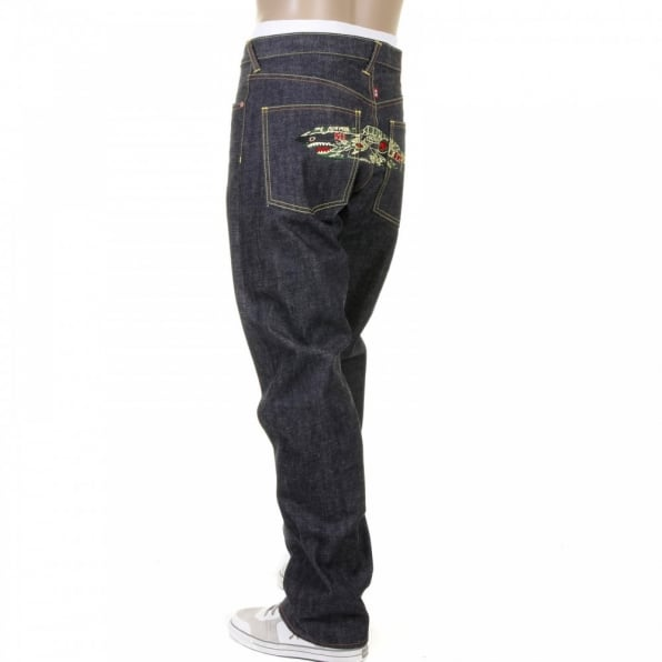 RMC JEANS Super Exclusive Tiger Camo Plane Design Indigo Raw Denim Slim Cut Jeans