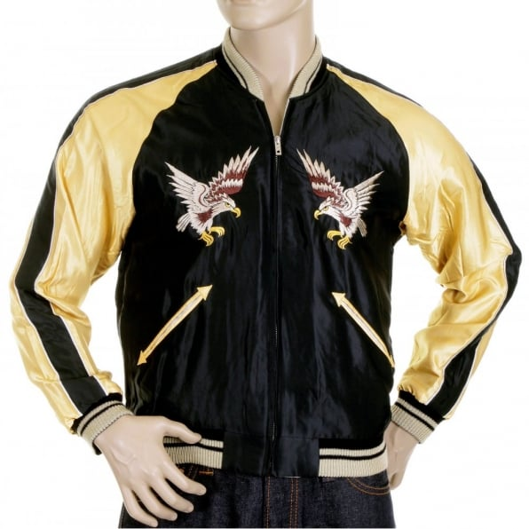 TAILOR TOYO Black Body Gold Colour Sleeves Fully Reversible Souvenier Suka Jacket With Hand Embroidered USA Eagle Yokota AB TT11781