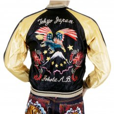 Black Body Gold Colour Sleeves Fully Reversible Souvenier Suka Jacket With Hand Embroidered USA Eagle Yokota AB TT11781