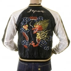 Black Body Ivory Sleeves Regular Fit Fully Reversible Suka Jacket with Hand Embroidered Tiger and Dragon TT12420