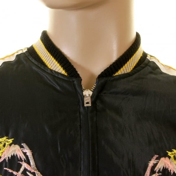 TAILOR TOYO Black Body Ivory Sleeves Regular Fit Fully Reversible Suka Jacket with Hand Embroidered Tiger and Dragon TT12420