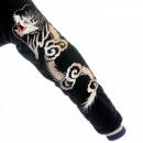 TAILOR TOYO Black Fully Reversible Acetate Souvenir Velvet Suka Jacket with Skull Embroidery TT11783