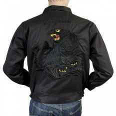 Black Regular Fit Cotton Twill Jacket with Embroidered Black Tiger TT13002