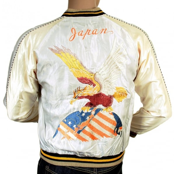 TAILOR TOYO Regular Fit Silver White Body Ivory Sleeves Fully Reversible Acetate Souvenir Jacket with Eagle and Tiger Embroidery TT13001