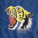 TAILOR TOYO Royal Blue Body Gold Sleeves Regular Fit Fully Reversible Souvenir Suka Jacket with Hand Embroidered Tiger and Eagle TT13001