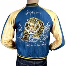 Royal Blue Body Gold Sleeves Regular Fit Fully Reversible Souvenir Suka Jacket with Hand Embroidered Tiger and Eagle TT13001