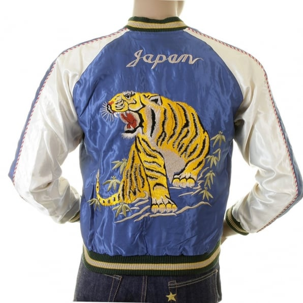 TAILOR TOYO Royal Blue Body Ivory Sleeves Regular Fit Fully Reversible Suka Jacket With Hand Embroidered Tiger and Dragon TT12420