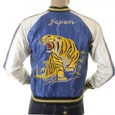 Royal Blue Body Ivory Sleeves Regular Fit Fully Reversible Suka Jacket With Hand Embroidered Tiger and Dragon TT12420