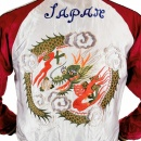TAILOR TOYO Silver Body Wine Colour Sleeves Fully Reversible Souvernier Suka Jacket With Hand Embroidered Dragon TT11781