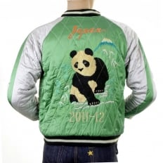 Special Limited Edition Collectors Green Body Silver Sleeves Regular Fit Fully Reversible Satin Musashi and Giant Panda Suka Memorial Jacket TT12420
