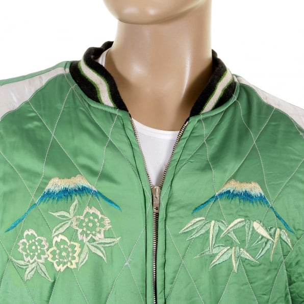 TAILOR TOYO Special Limited Edition Collectors Green Body Silver Sleeves Regular Fit Fully Reversible Satin Musashi and Giant Panda Suka Memorial Jacket TT12420