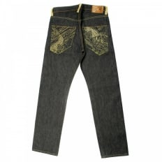 Gold Embroidered Raw Denim