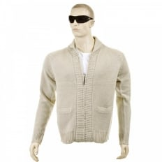 Beige Shawl Collar Long Sleeve Regular Fit Zip Up Knitted Cardigan