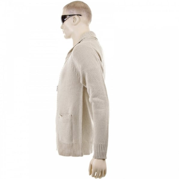 THUG OR ANGEL Beige Shawl Collar Long Sleeve Regular Fit Zip Up Knitted Cardigan