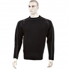 Black Crew Neck Long Sleeve Regular Fit Knitted Jumper with Grey Stitched Trim