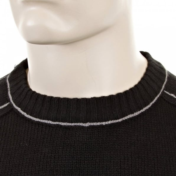 THUG OR ANGEL Black Crew Neck Long Sleeve Regular Fit Knitted Jumper with Grey Stitched Trim