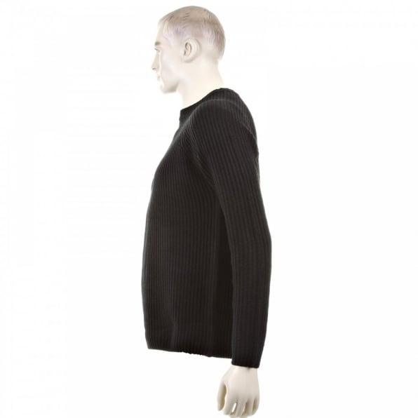 THUG OR ANGEL Black Crew Neck Raglan Sleeve Regular Fit Knitted Jumper