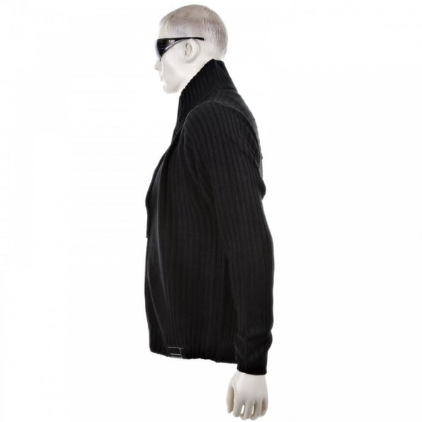THUG OR ANGEL Black Full Zip Regular Fit Long Sleeve Knitted Cardigan