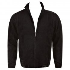 Black Full Zip Regular Fit Long Sleeve Knitted Cardigan
