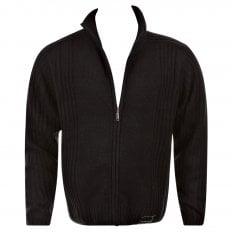 Black Full Zip Regular Fit Long Sleeve Knitted Cardigan