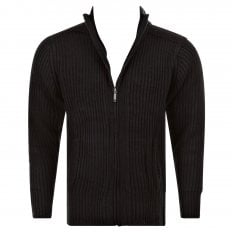 Black Long Sleeve Regular Fit Full Zipped Cardigan with Applique Shoulder Patch
