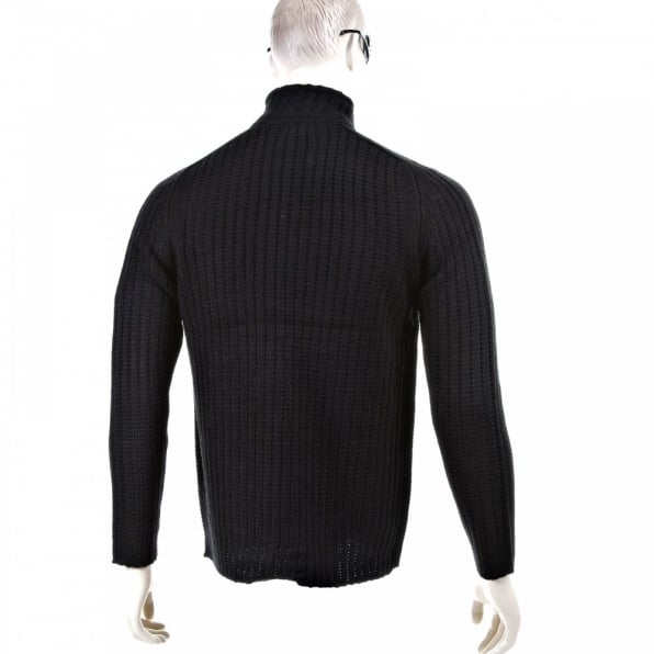 THUG OR ANGEL Black Ribbed Zip up Regular Fit High Neck Cardigan
