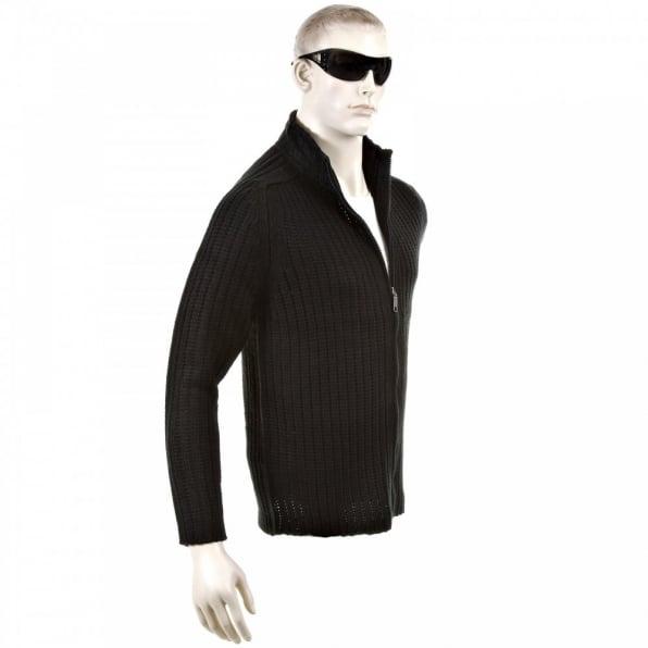 THUG OR ANGEL Black Ribbed Zip up Regular Fit High Neck Cardigan