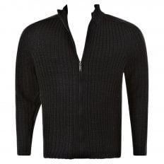 Black Ribbed Zip up Regular Fit High Neck Cardigan