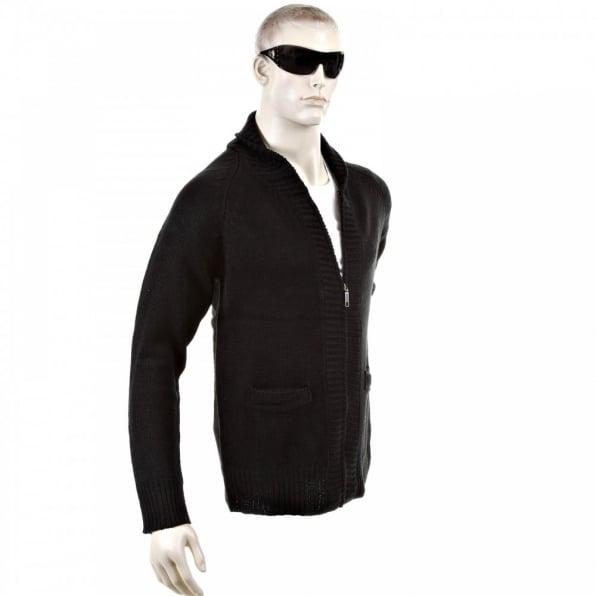 THUG OR ANGEL Black Shawl Collar Long Sleeve Regular Fit Zip Up Knitted Cardigan