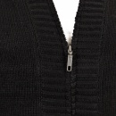 THUG OR ANGEL Black Shawl Collar Long Sleeve Regular Fit Zip Up Knitted Cardigan