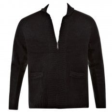 Black Shawl Collar Long Sleeve Regular Fit Zip Up Knitted Cardigan