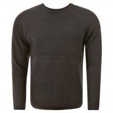 Charcoal Crew Neck Raglan Sleeve Regular Fit Knitted Jumper