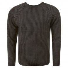 Charcoal Crew Neck Raglan Sleeve Regular Fit Knitted Jumper