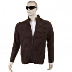 Chocolate Brown Ribbed Zip up Long Sleeve Regular Fit High Neck Cardigan