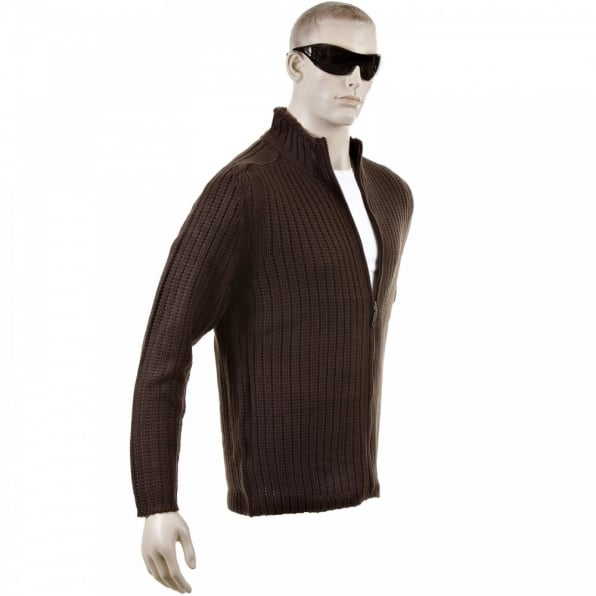 THUG OR ANGEL Chocolate Brown Ribbed Zip up Long Sleeve Regular Fit High Neck Cardigan