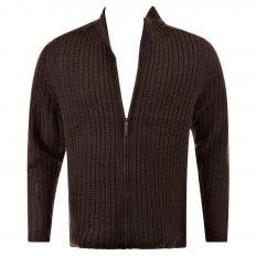 Chocolate Brown Ribbed Zip up Long Sleeve Regular Fit High Neck Cardigan