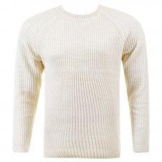 Cream Crew Neck Raglan Sleeve Regular Fit Knitted Jumper
