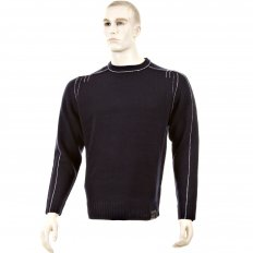 Dark Navy Crew Neck Long Sleeve Regular Fit Knitted Jumper with White Trim
