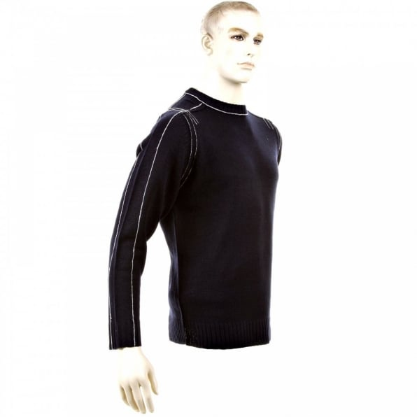 THUG OR ANGEL Dark Navy Crew Neck Long Sleeve Regular Fit Knitted Jumper with White Trim